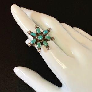 Vtg Boho Silver & Turquoise Spoke Flower Sz 7